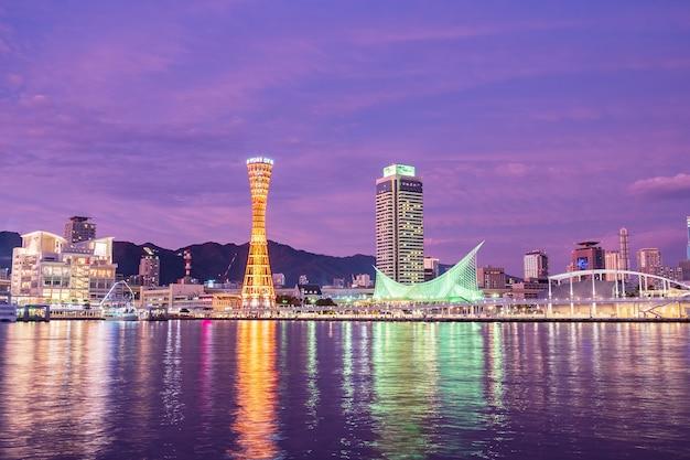 Linda da torre do porto de kobe, marco e popular para atrações turísticas no distrito central. prefeitura de hyogo,