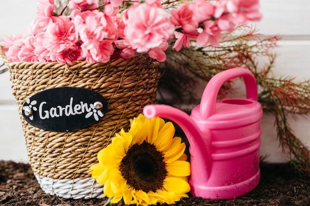 Linda decoração de jardinagem rosa