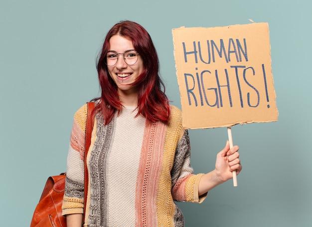 Linda estudante e ativista segurando conselho de direitos humanos