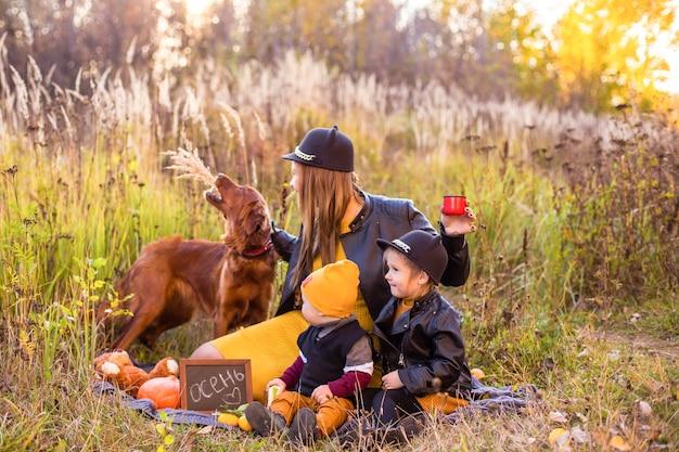 Linda família com um cachorro golden retriever em uma caminhada na natureza ensolarada de outono
