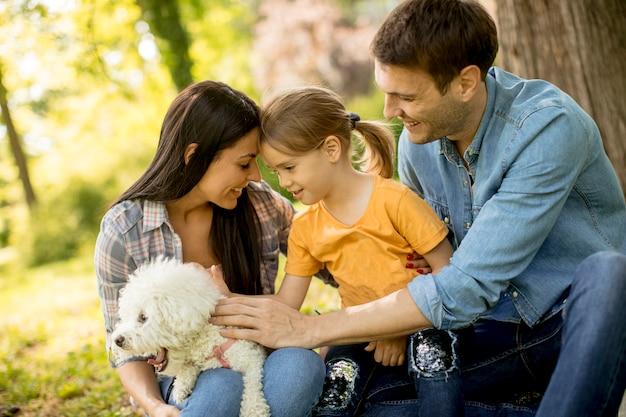 Linda família feliz está se divertindo com cachorro bishon debaixo da árvore ao ar livre
