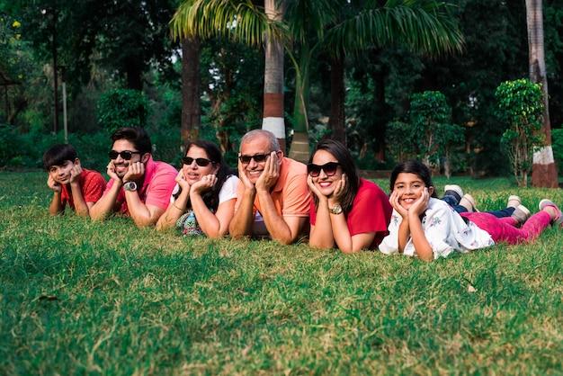 Linda família indiana de seis gerações, olhando para a câmera e sorrindo enquanto deitavam juntos na grama verde no jardim, com as mãos no queixo