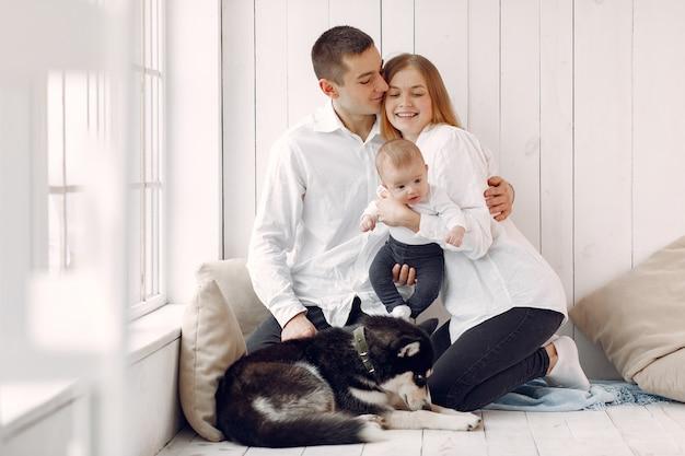 Linda família passa o tempo em um quarto com um cachorro