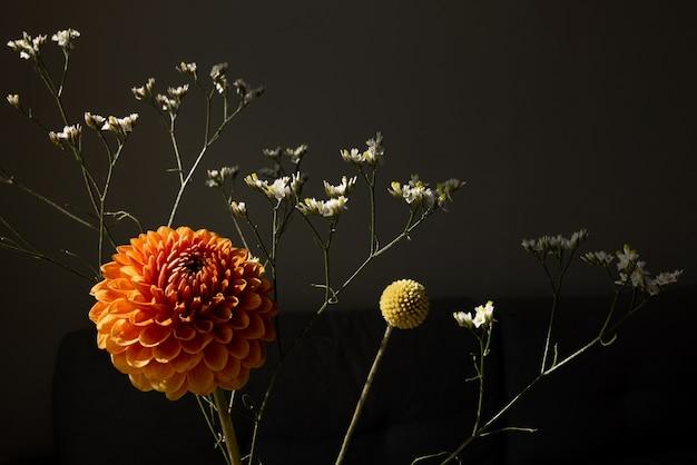 Linda flor dália ensolarada de cor laranja, craspedia amarela e flores secas brancas, buquê moderno de flores estilo escuro vista lateral da natureza morta