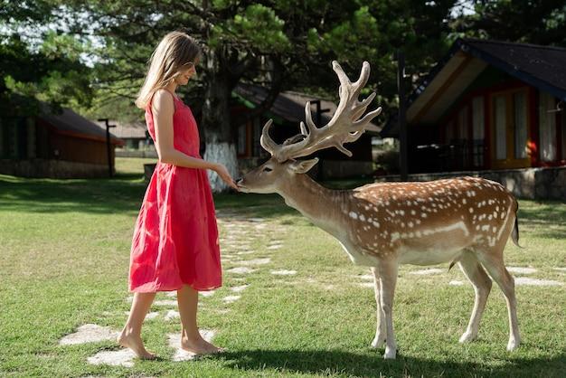 Linda garota ao lado de um cervo no parque