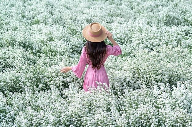 Linda garota caminhando nos campos de flores de cutter, chiang mai, na tailândia