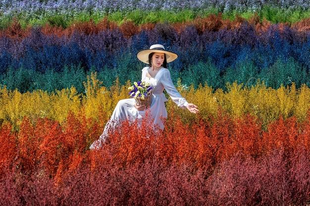 Linda garota com um vestido branco sentada nos campos de flores do arco-íris de cutter, chiang mai