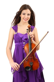 Linda garota com violino, isolado no branco