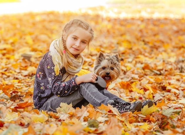 Linda garota com yorkshire terrier