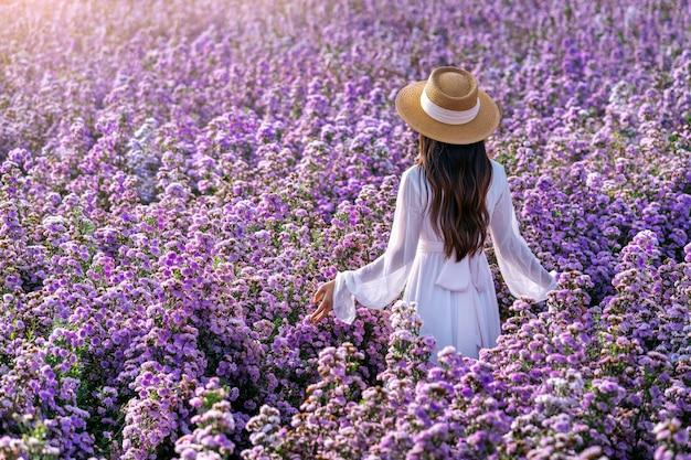 Linda garota de vestido branco desfrutando nos campos de flores de margaret