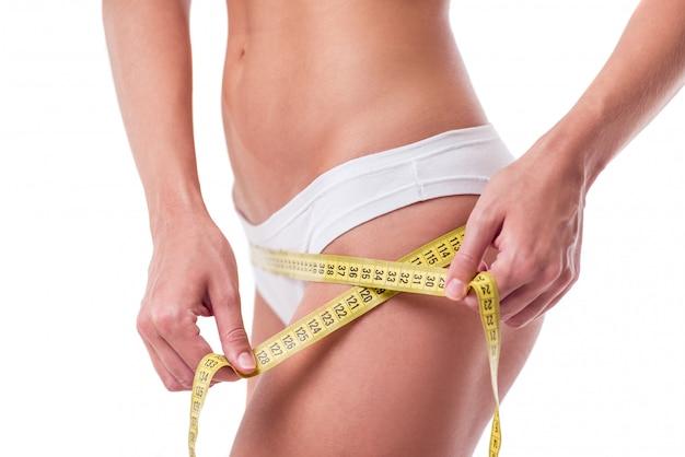 Linda garota magra. conceito de dieta