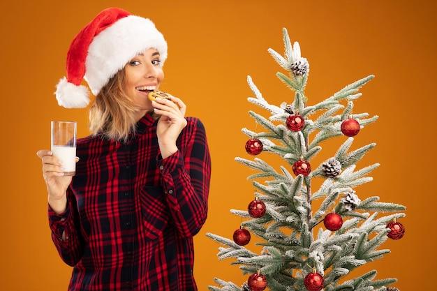 Linda garota sorridente em pé perto da árvore de natal, usando um chapéu de natal, segurando um copo de leite e experimentando biscoitos isolados em um fundo laranja