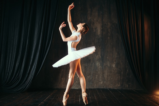 Linda graciosa bailarina dançando em sala de aula. bailarina treinando no palco