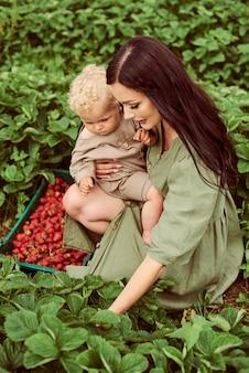 Linda jovem mãe com seus filhos em um vestido de linho com uma cesta de morangos reúne uma nova safra e se diverte com as crianças