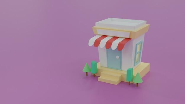 Linda loja doméstica mínima com nome de rótulo vazio em fundo violeta, forma geométrica simples, loja pequena em estilo cartoon, ilustração de renderização 3d
