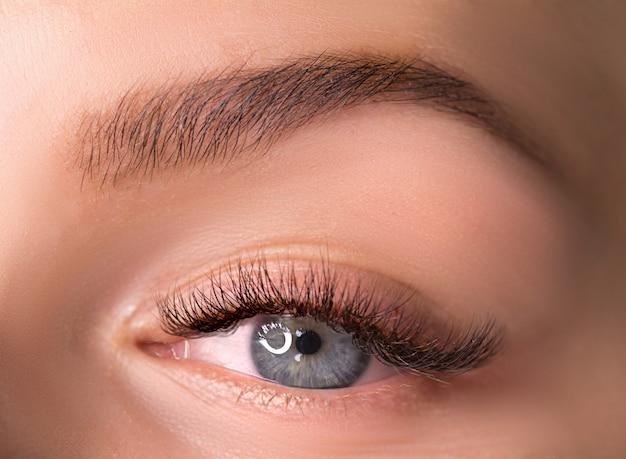 Linda macro fotografia do olho de uma mulher com maquiagem de cílios longos