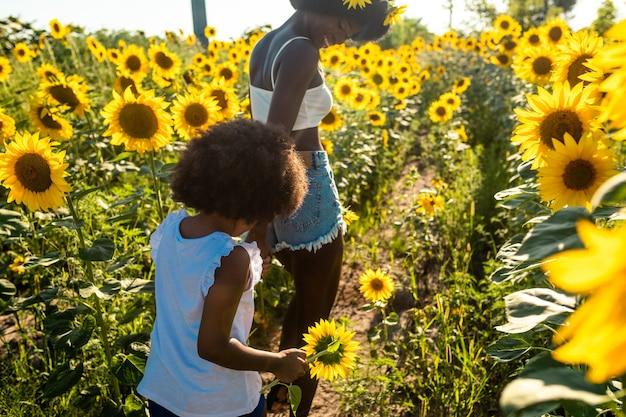 Linda mãe afro-americana e filha brincando e se divertindo em um campo de girassóis