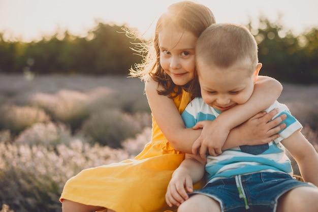 Linda menina abraçando o irmão mais novo contra o pôr do sol e no campo de flores.