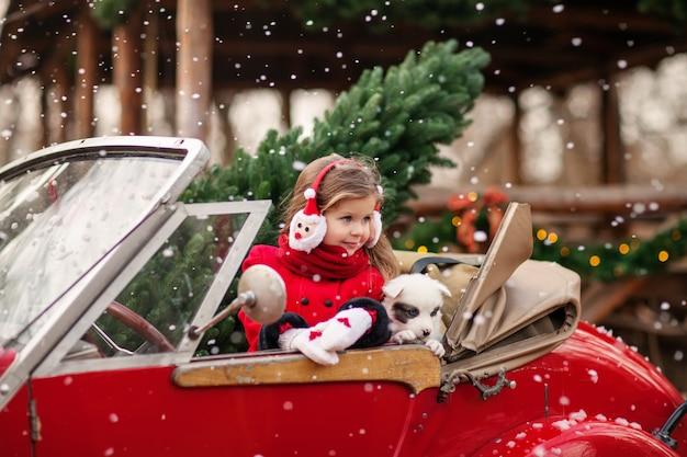 Linda menina com um cachorrinho no carro de natal