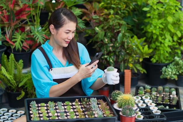 Linda mulher asiática usa avental e usando o smartphone, tirando fotos de um pequeno cacto em uma cápsula branca com uma cara feliz. conceito de hobby e empresário.