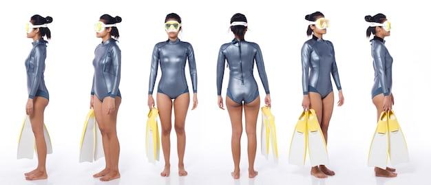 Linda mulher asiática usa terno molhado de mergulho com snorkel e nadadeiras para mergulho com snorkel. scuba free dive female stand e girar 360 frente traseira vista lateral traseira sobre fundo branco isolado corpo inteiro
