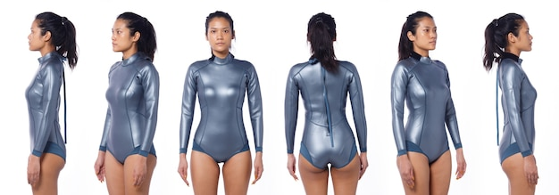 Linda mulher asiática usa terno molhado de mergulho. scuba free dive female stand e girar 360 frente traseira vista lateral traseira sobre fundo branco isolado, meio corpo