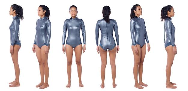 Linda mulher asiática usa terno molhado de mergulho. scuba free dive female stand e virar 360 frente traseira vista lateral traseira sobre fundo branco isolado, corpo de corpo inteiro