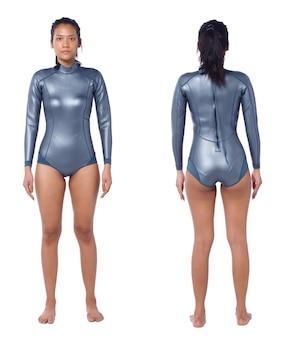 Linda mulher asiática usa terno molhado de mergulho. scuba free dive feminino se posiciona e vira frente traseira vista traseira sobre fundo branco isolado, corpo de corpo inteiro