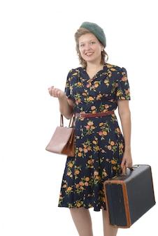 Linda mulher com roupas 1940