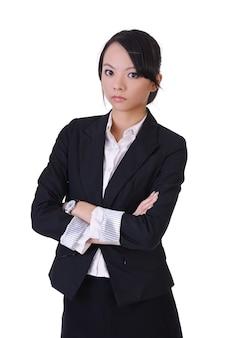 Linda mulher de negócios asiática com terno formal, retrato do close up em fundo branco.