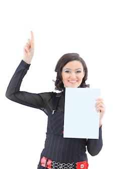 Linda mulher de negócios com uma bandeira branca isolada em um fundo branco
