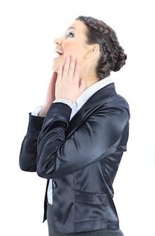 Linda mulher de negócios. isolado em um fundo branco.
