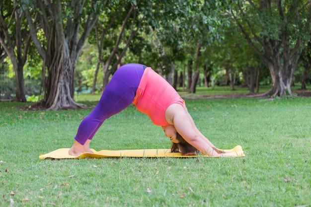 Linda mulher gorda fazendo yoga no tatame no parque