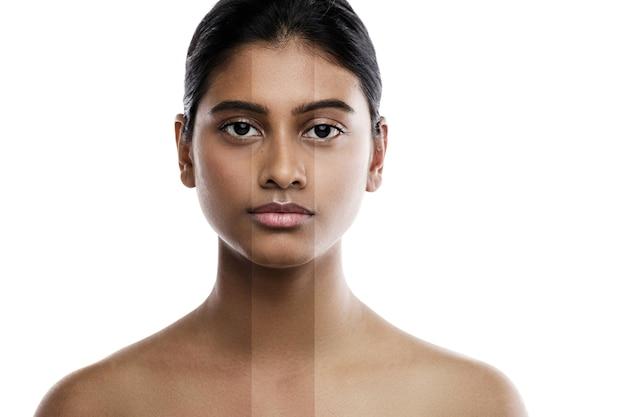 Linda mulher indiana e resultado de tratamento de clareamento da pele