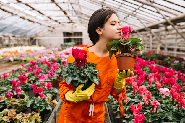 Linda mulher jardineiro cheirando flores cor de rosa