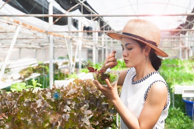 Linda mulher saudável segurando legumes salada na fazenda de hidroponia