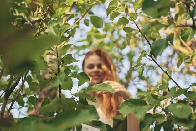 Linda mulher vestida de branco, natureza, folhas verdes, vista da parte inferior de uma árvore