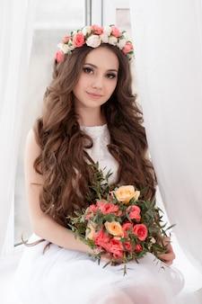 Linda noiva com flores