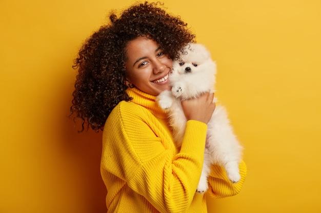Linda senhora afro-americana encaracolada em suéter amarelo superdimensionado, brinca com sua mascote favorita dentro de casa, tem bom humor, sente-se orgulhosa de ter lindo animal.