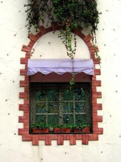 Lindamente decorada janela