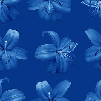 Lindas flores azuis; lírios. padrão sem emenda de flor de flor de lírio. fundo natural floral.