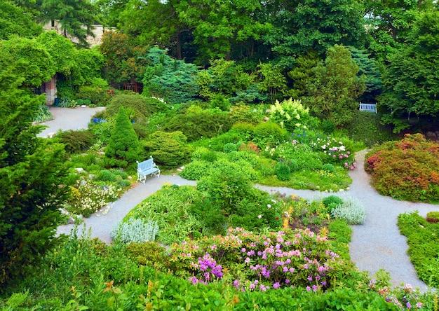 Lindas flores coloridas no parque, the rose garden, em praga