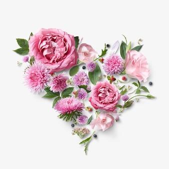 Lindas flores cor de rosa em um coração em um fundo branco, cartão postal