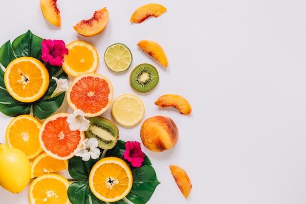 Lindas flores e frutas em folhas