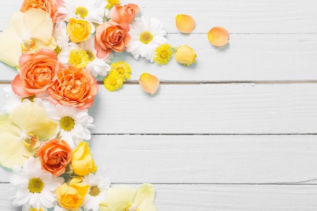 Lindas flores em fundo de madeira pintado de branco