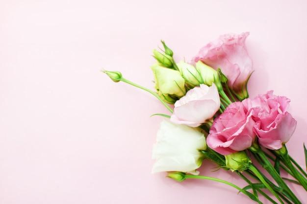 Lindas flores rosa eustoma (lisianthus) em plena floração com folhas de botões. buquê de flores em fundo rosa. copie o espaço