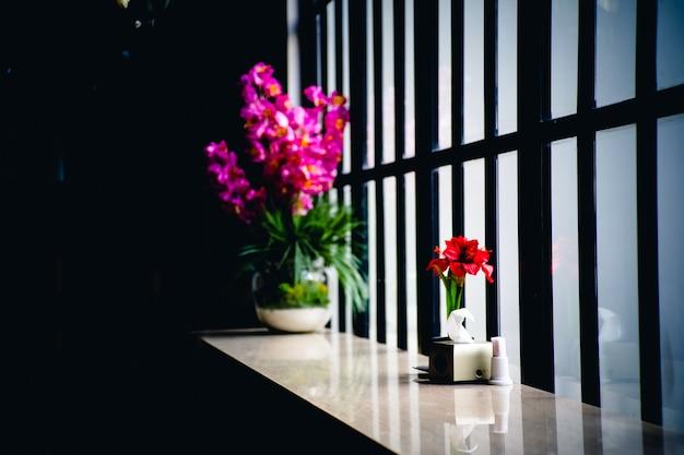 Lindas flores roxas e vermelhas em vasos no peitoril da janela