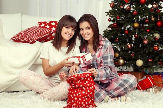 Lindas jovens irmãs gêmeas. natal e ano novo