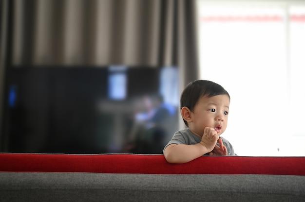 Lindo bebê de pé em um sofá na sala de estar em casa.