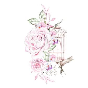 Lindo buquê de aquarela com pássaros e flores e ilustração da gaiola de pássaros